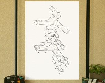"""NES Nintendo Light Gun Video Game Poster Technical Illustration 13""""x19"""""""