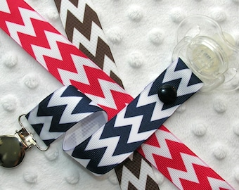 Chevron Stripe Pacifier Soothie Clip Holder, Red, Brown or Navy Blue