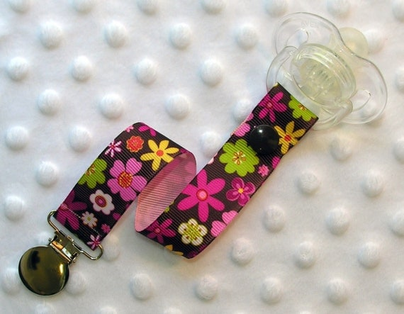 Flower Mania Pacifier Clip Soothie Clip Holder