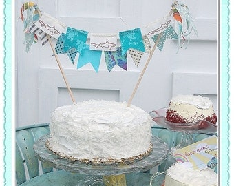 Shark Attack BLUE Cake Bunting by Oversoul