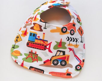 Baby Bibs Baby Accessories Infant Bib with Construction Trucks Baby Boy Bib Baby Shower Gift Soft Flannel Backing