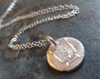 Recycled Fine Silver Tiny Dog Wax Seal Charm Pendant Necklace Puppy Teen Teenager Sterling Flat Cable Chain