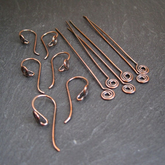 Antique Copper Earwires Headpins Findings Set Spiral 3 Pairs