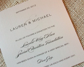 Wedding Donation Card - Any Design - your choice of colors - Shimmer Cardstock - Sample