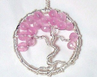 October Birthstone, Pink Tourmaline Gemstone Bonsai Tree of Life