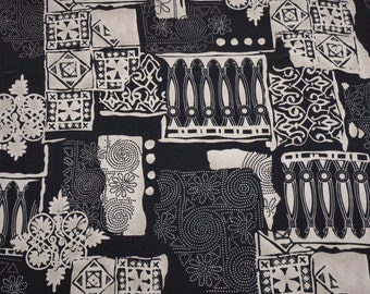 1980s Vintage Fabric Abstract Black and Beige  Soft and Silky Polyester By The Yard
