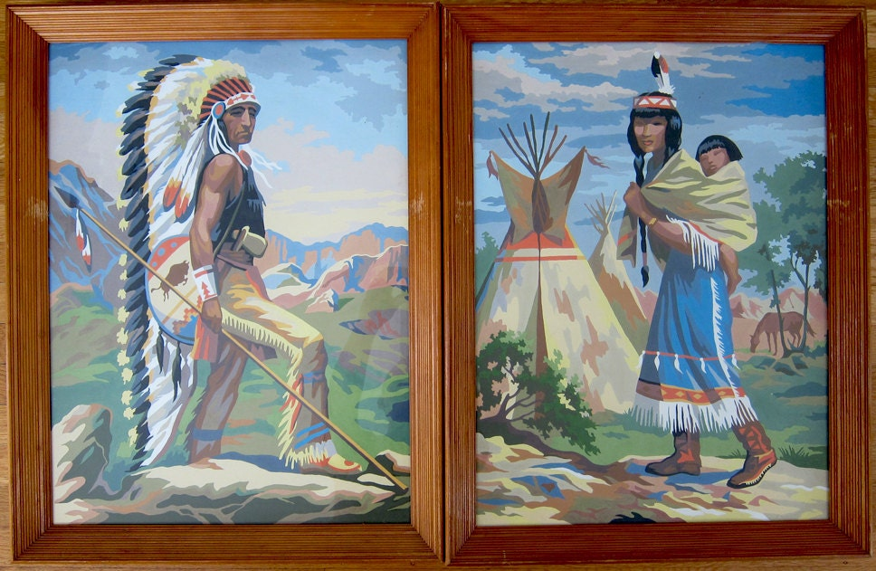 Extra Large Paint By Number Pair Of Native American Indian