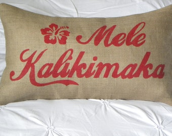 Hawaii Mele Kalikimaka Merry Christmas burlap (hessian) pillow cushion cover