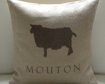 Burlap (hessian) French Sheep Mouton  pillow cover