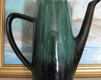 Blue Mountain Pottery Coffee Pot Canada Retro Red Clay Art Pottery Rare with Lid c1970