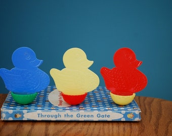 Vintage Set of Three 1950s Knickerbocker Toy Ducks
