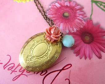 Gold Locket with coral rosebudand mint alabster dangle