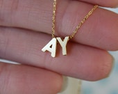 Tiny Double Letter Necklace... Gold Initial Necklace...Love Necklace Minimalist Jewelry Wedding Bridesmaid  Gift