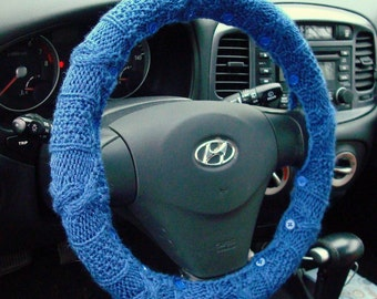SALE Indigo Blue Knit Steering Wheel Cover with safety rubber backing