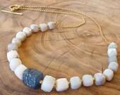 Rough Blue  Sapphire necklace 18K gold necklace, gold chain necklace, Australian Opal Necklace,
