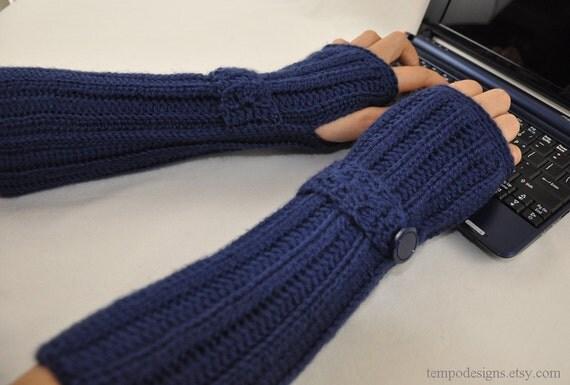 Blue Sapphire Arm Warmers Fingerless Glove