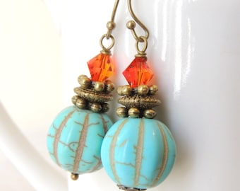 Vintage Style Earrings, Turquoise Howlite and Fire Opal Swarovski Crystals Earrings, Autumn Fall Earrings, Halloween Earrings, gift for her