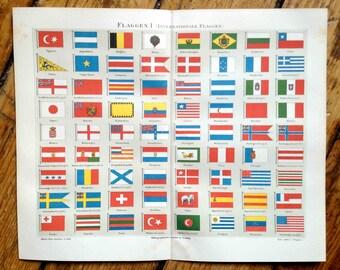 1889 international country flags original antique print