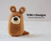 Needle Felting Bear Kit, complete wool fiber animal kit for beginners