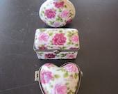 VINTAGE Dresser TRIO Set  Floral Porcelain containers