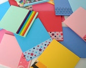 Folded Note Cards in Assorted Colors / Set of 36 / Thank You Notes / Gift Cards