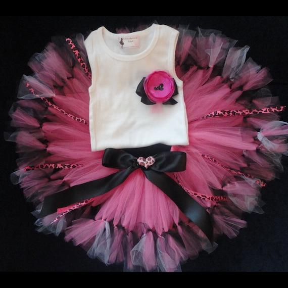 Baby Girls Birthday Tutu Dress Outfit, Cheetah Girl Hot Pink Tutu Dress