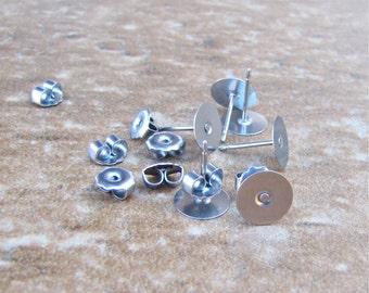 500 pcs 8mm Surgical Steel Flat Pad Earring Posts and Backs - 250 pairs of earrings wholesale jewelry findings supplies