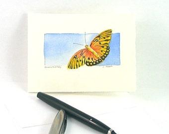 Original Watercolor Butterfly Art Card