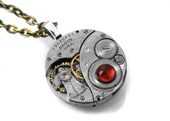 Steampunk Necklace, Fiery Carnelian & Antique Elgin Pocket Watch Mechanism - Long Chain Necklace