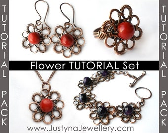 Wirewrapping Tutorial, Jewelry Tutorial Sale Pack, Earrings Tutorial, Ring Tutorial, Bracelet Tutorial, Pendant Tutorial, Flower Pattern