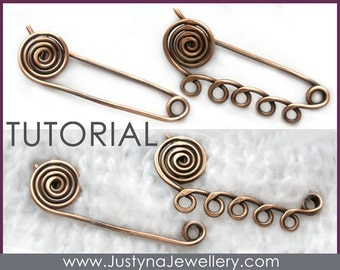 Spiral Safety Pin Tutorial, Wire Jewelry Tutorial, Kilt Pin Brooch Tutorial, Shawl Pin Tutorial, Scarf Pin Pattern, Wire Wrapping Tutorial