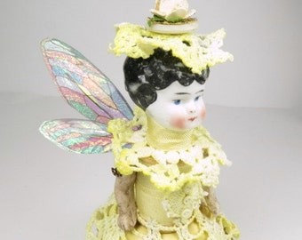 "Assemblage Art Doll ""Buttercup Yellow"" Fairy Doll, Assemblage Angel, Yellow Angel Assemblage Doll"