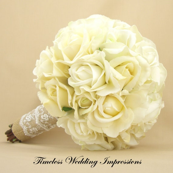 Wedding Bouquets Not Flowers: Items Similar To Rustic Bridal Bouquet Burlap Lace Roses