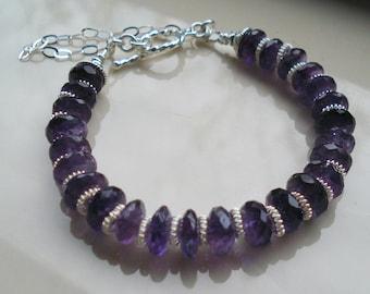 Amethyst Bracelet, Dark Purple Amethyst and Sterling Silver Bracelet, OOAK, Handmade