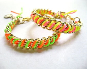 trendy neon fuchsia yellow and orange green golden chains bracelets Shout it -