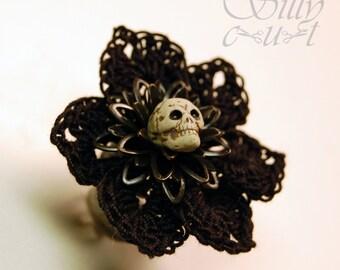 ring - Fleur Du Mal - crochet, handmade, skull, gothic, neovictorian, , dark, mourning, ornate
