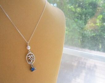 Silver Om Necklace Yoga Pearl Buddhist Hindu by MinouBazaar