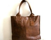Oversize leathre tote bag, for every day use - brown