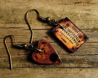 Mini Vintage Ouija Board Good Bye V20 Dangle Earrings Wiccan Pagan Goth