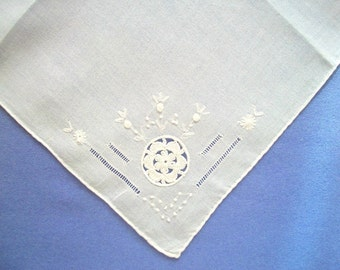 Bridal Batiste Handkerchief with Crochet Flower and White Embroidery Vintage Unused