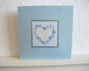 Heart Greeting Card Cross Stitch Blue Flower Wreath Hand Embroidered Wall Hanging One of a Kind