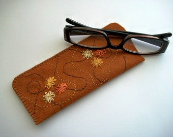Brown Eyeglass Case Hand Embroidered Flowers with Swirls on Felt Handsewn