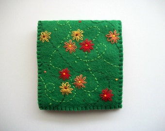 Green Needle Book Felt Sewing Notion with Hand Embroidered Flowers Handsewn