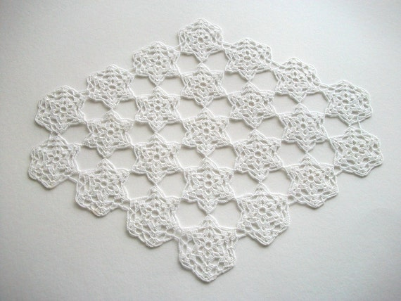 RESERVED LISTING Oval Crochet Doily White Cotton Lace Heirloom Quality