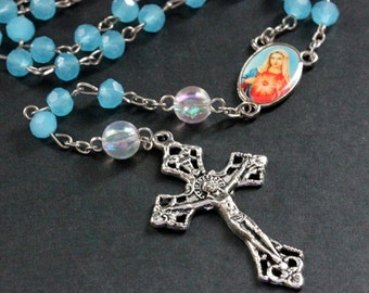 Turquoise Blue Crystal Catholic Rosary in Silver. Crystal Rosary. Turquoise Rosary. Blue Rosary. Handmade Rosary.