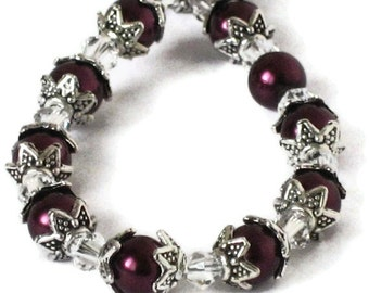 Cranberry Burgundy Pearl Bracelet, Wedding Jewelry, Bridesmaids Gifts, Gifts for Women Mom Wife Sister Daughter Under 20, Stocking Stuffers