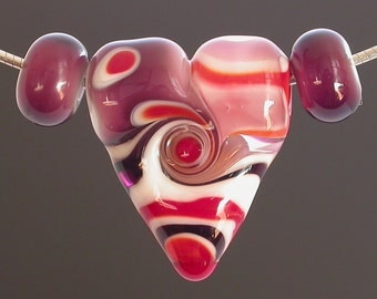 Heart Bead, lampwork heart bead, glass heart, red, purple, pink, Valentine's Day, Love, focal bead, one of a kind, unique, artisan lampwork