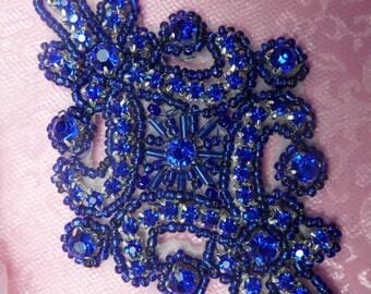 "JB115 Blue Applique Crystal Rhinestone Blue Beaded 4"" (JB115-bl)"