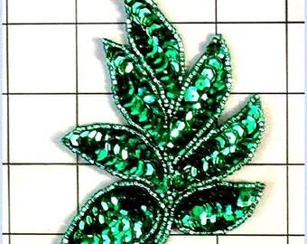 """FS476  Leaf Applique Sequin Green Beaded Motif 4""""   (FS476-gr)"""