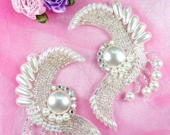 """FS3363 Radiant Pearl Swirl Mirror Pair Beaded Appliques 4"""" (FS3363X-slp)"""